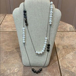 Freshwater pearl black bead station extra long